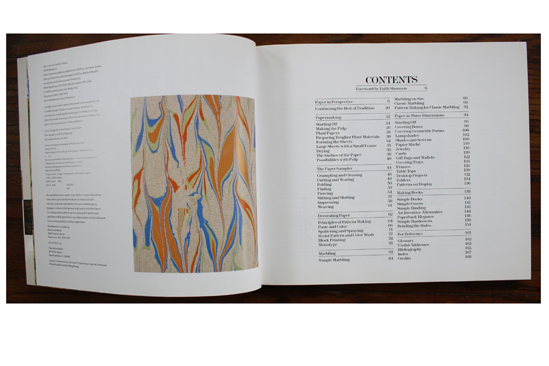 book review the art and craft of paper pinecone sparrow table of contents and sample marbled paper in the art and craft of paper by faith
