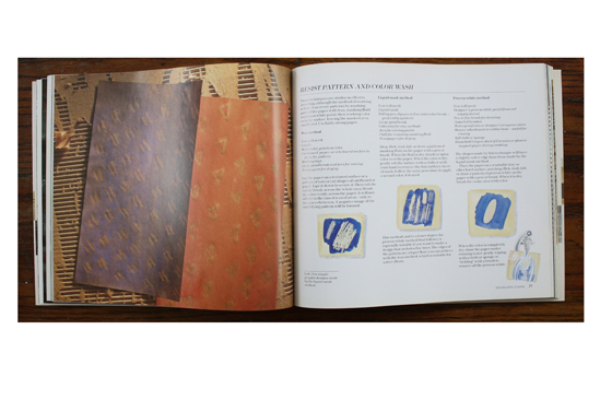 Resist Pattern and Color Wash photograph and illustrations in The Art and Craft of Paper by Faith Shannon.