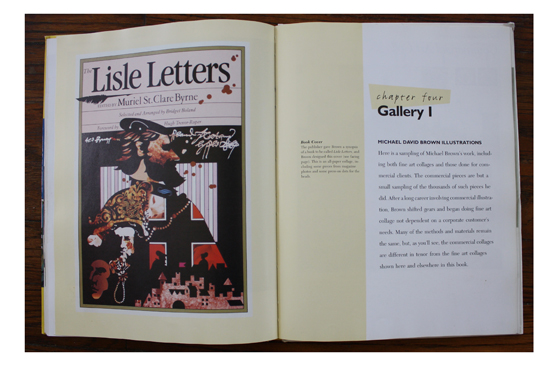 Left: Book Cover by Michael David Brown; Right: Start of Gallery I, a sampling of Brown's work in Realistic Collage: Step by Step