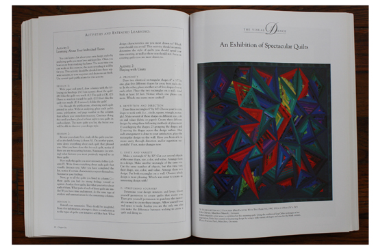Left: Activities and Extended Learned section included at the end of most chapters; Right: Fire Facets with Two Parrots (1990) by Erika Odemer in  The Visual Dance  by Joen Wolfrom.