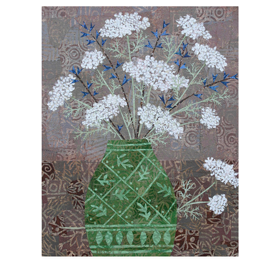 "Queen Anne's Lace in Green Vase. Layered paper collage. 11"" x 14"" x .75"" canvas. Original available here."