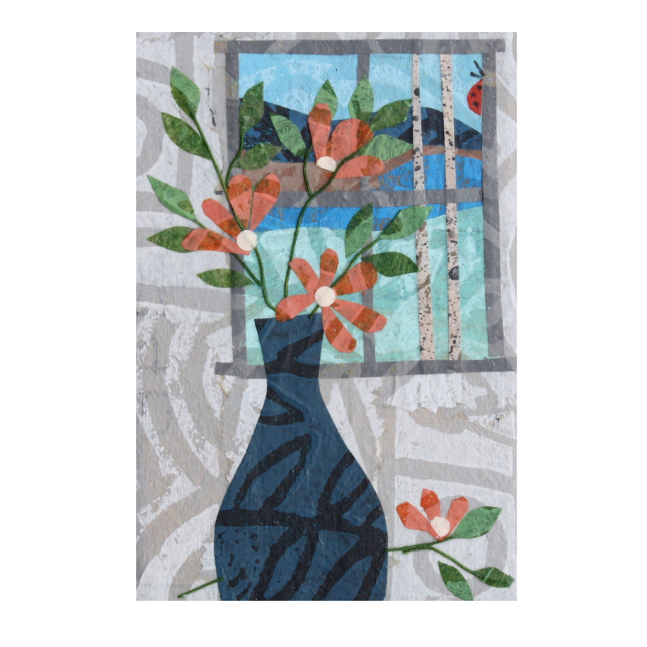 Daydreaming. Layered paper collage refrigerator magnet kitchen art. Original available  here  (on  Etsy ).