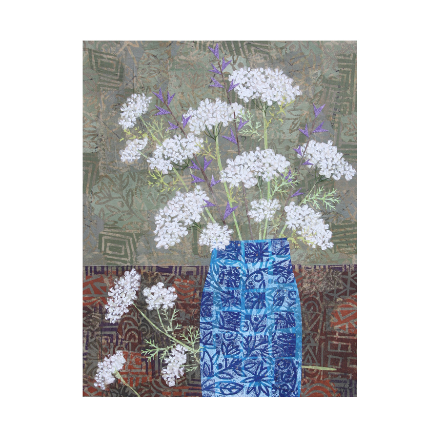"Queen Anne's Lace in Blue Vase. Layered paper collage wall art. 11"" x 14"" x .75"".   Original Available here."