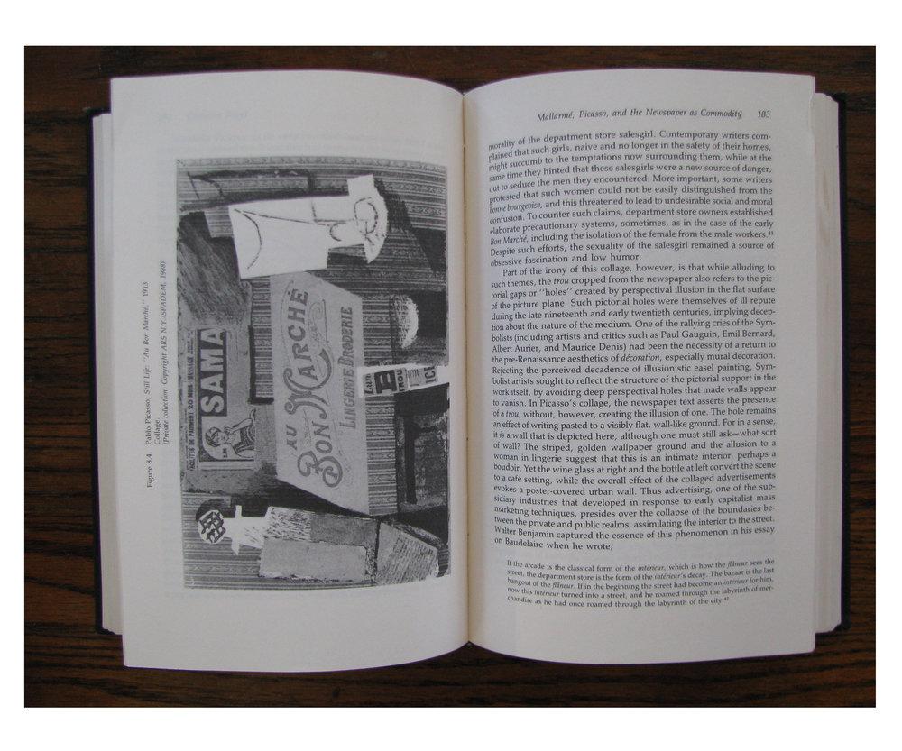 "Left: Still Life: ""Au Bon Marche"" (1913) by Pablo Picasso in Collage: Critical Views."