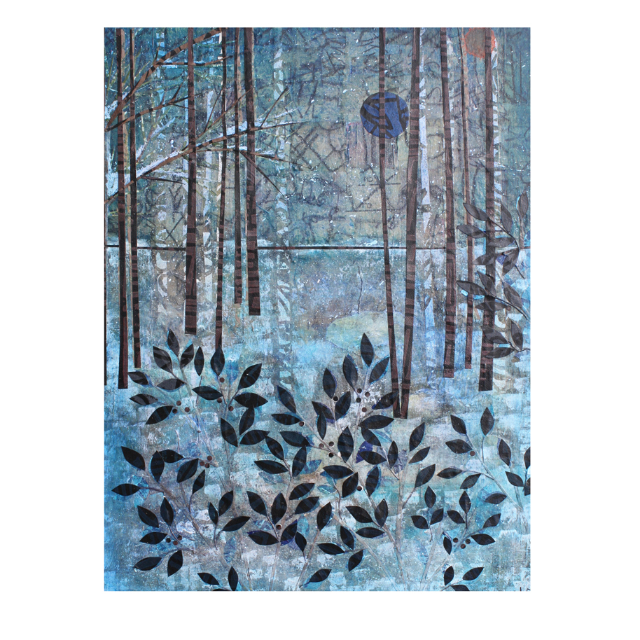 Blue Forest #3. Layered paper collage. Work in Progress.