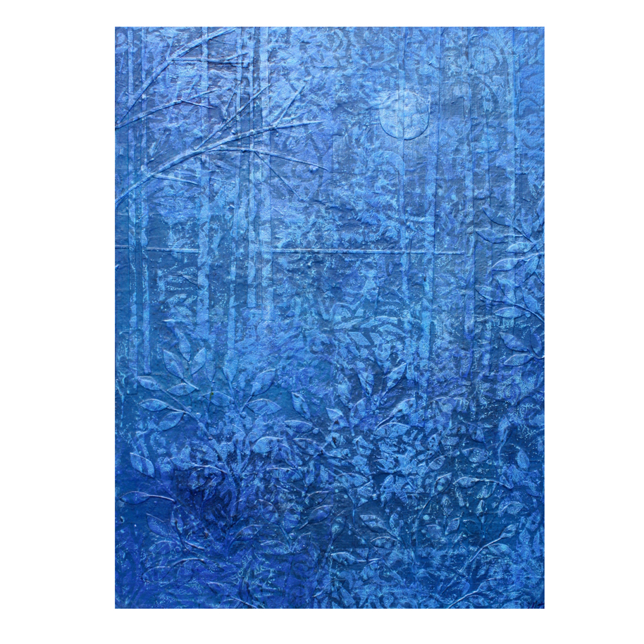 "Blue Forest #3. Layered paper collage on 9"" x 12"" x 1"" claybord. Prints available  here ."