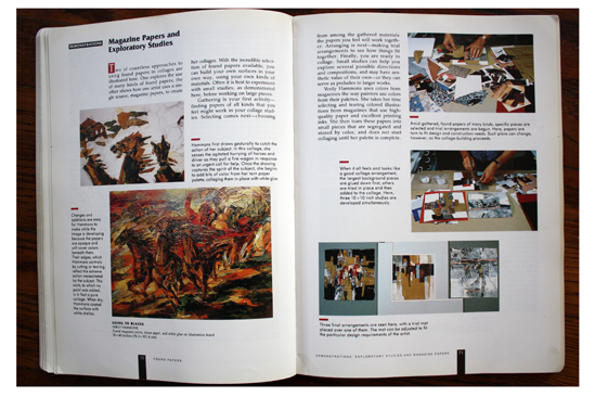 Left: Going to Blazes by Verily Hammons; Right: Exploratory studies with magazine papers in Collage Techniques: A Guide for Artists and Illustrators