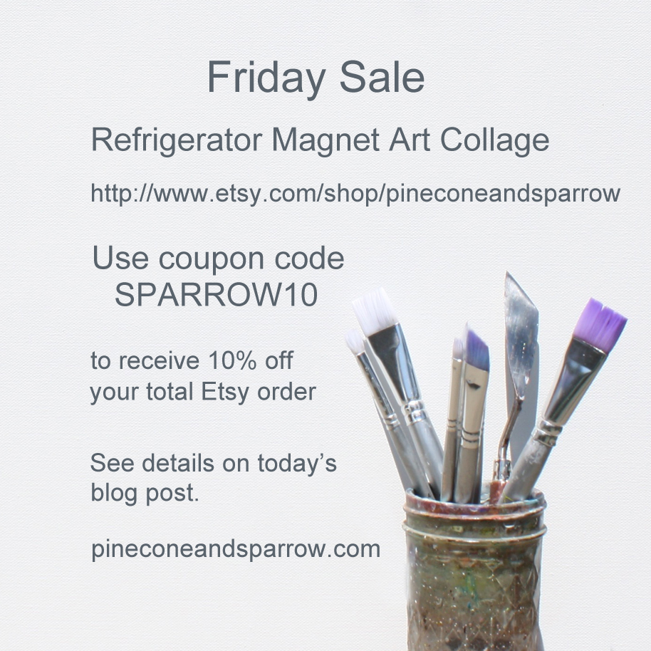 Friday Sale - Etsy - Refrigerator Magnet Art Collages