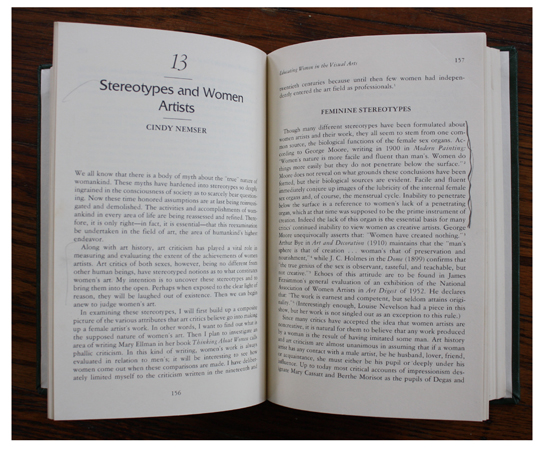 Book pages from Feminist Collage: Educating Women in the Visual Arts.