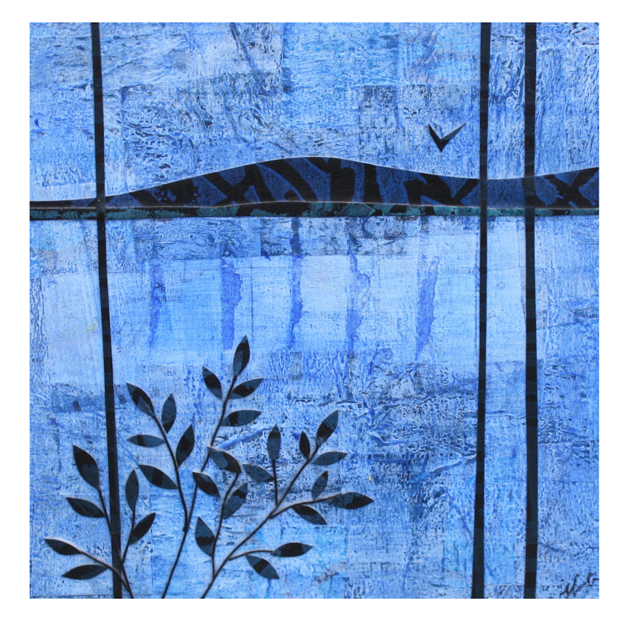 "By The Lake (Blue). Layered paper collage. Hand-stamped paper, acrylics, and thread on 4"" x 4"" x 1.5"" artist board."