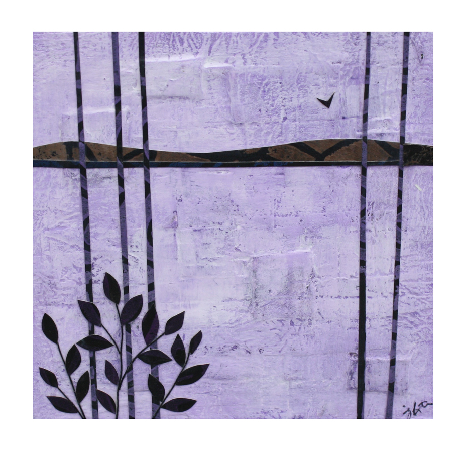 "By the Lake (Purple). Layered paper collage. Hand-stamped paper, acrylics, and thread on 4"" x 4"" x 1.5"" artist board."