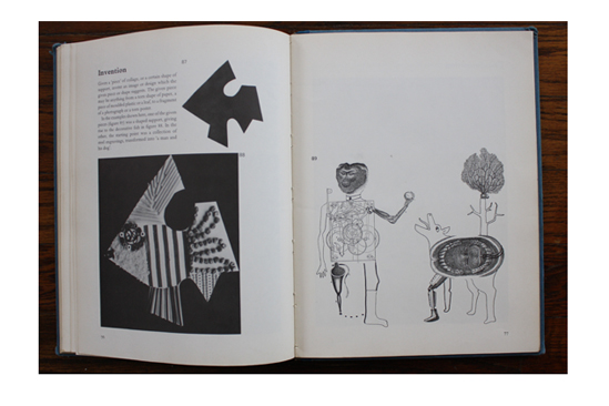 Left: Shaped support turned into decorative fish; Right: Collection of steel engravings transformed into a man and his dog in Approaches to Collage.