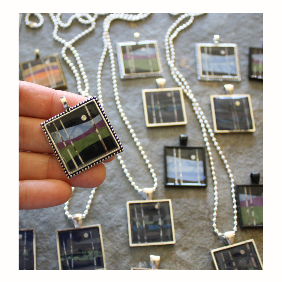 Inchie Pendants layered paper collage