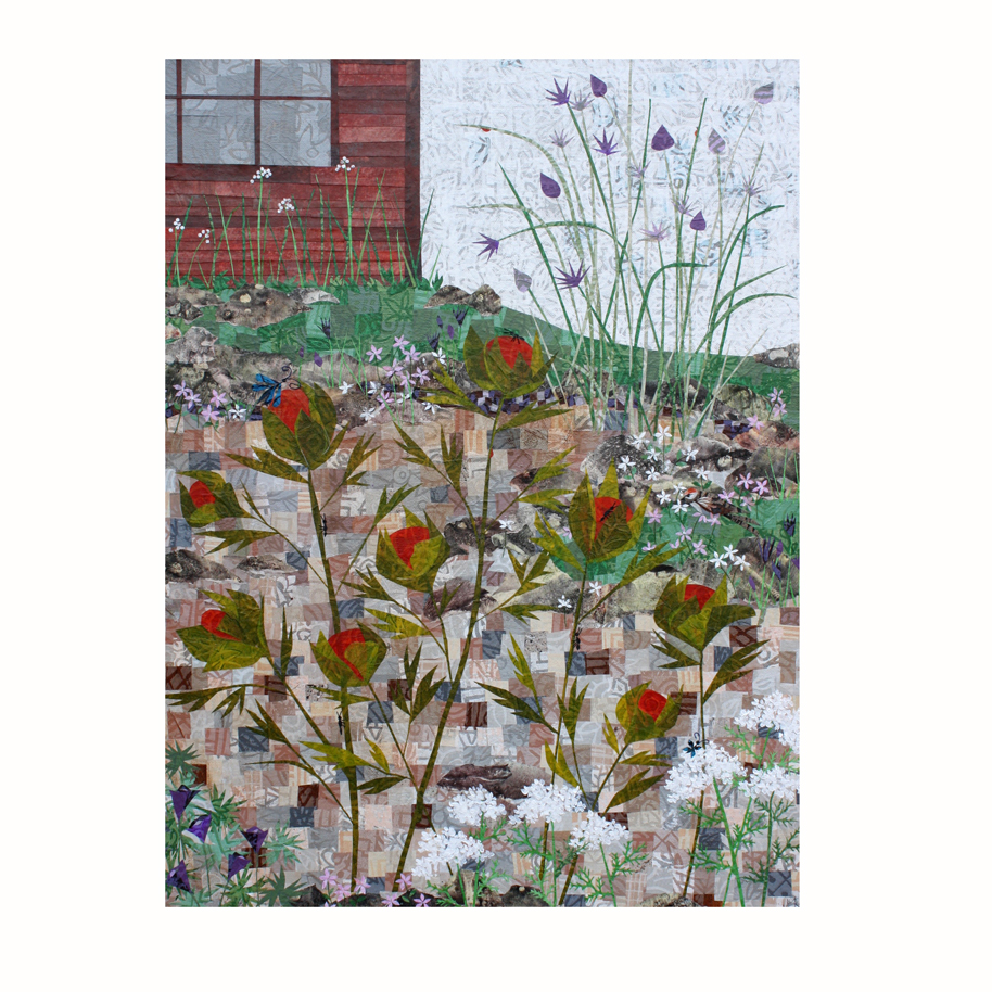 "Garden. Layered paper collage. 18"" x 24"" x .75"". Not listed in my shop, currently, but contact me if you are interested."