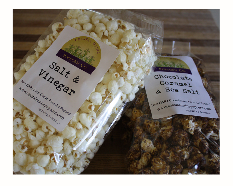 Popcorn from the Coastal Maine Popcorn Co. Hands off the Chocolate Carmel & Sea Salt. That's mine!