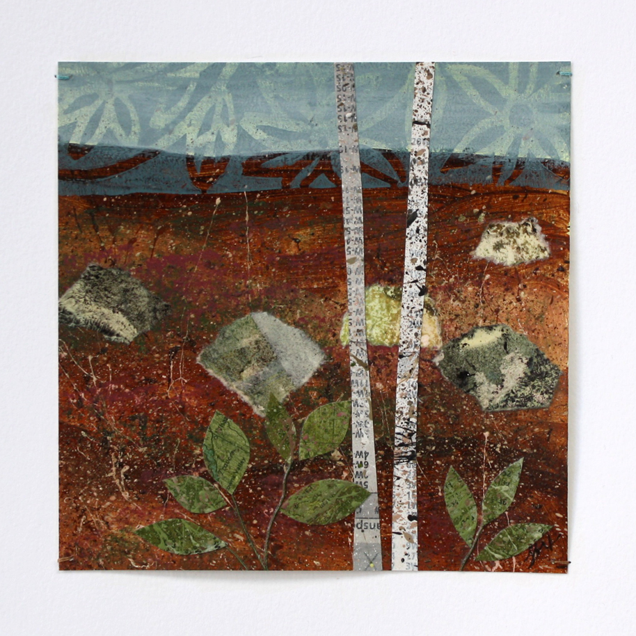Trees and Ferns layered paper collage