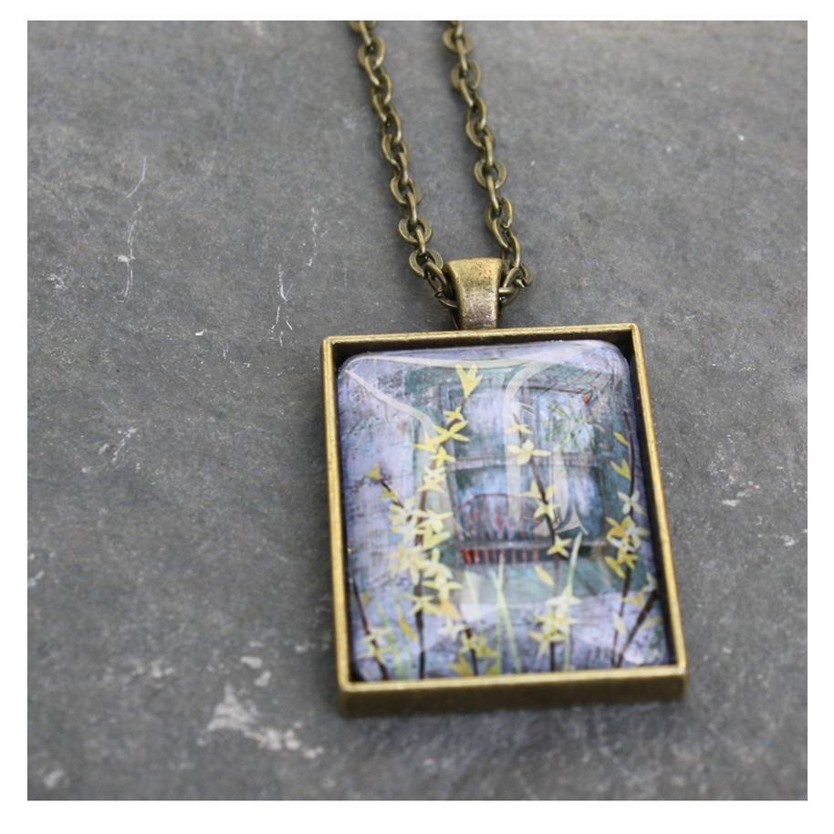 "Forsythia collage (print) pendant. Jewelry ""seconds"" now in my Etsy shop."