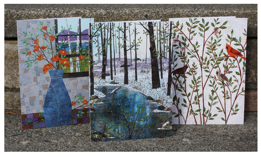 "Orange Blooms; Little Stream; Cardinals greeting cards. 5"" x 7"" prints of my layered paper collages."