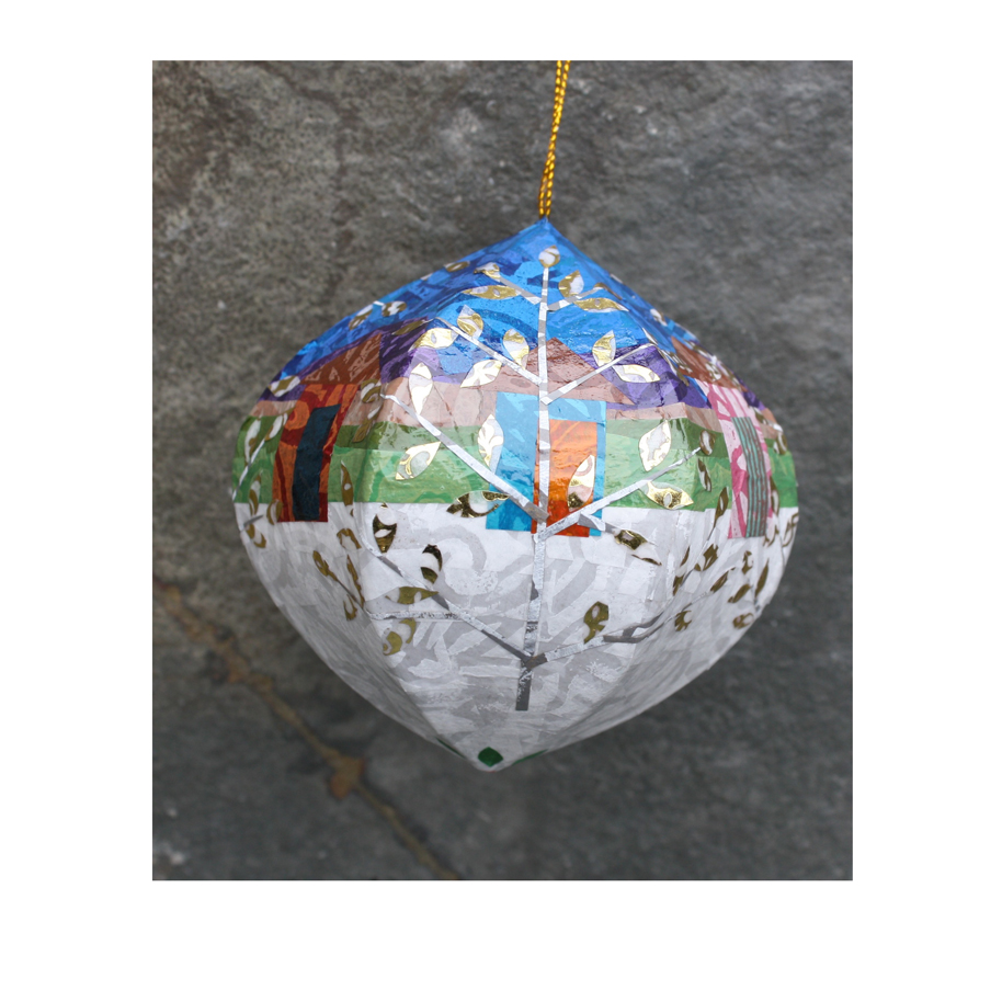 Cabin and Trees Ornament. Papier mache and layered paper collage. Available  here.