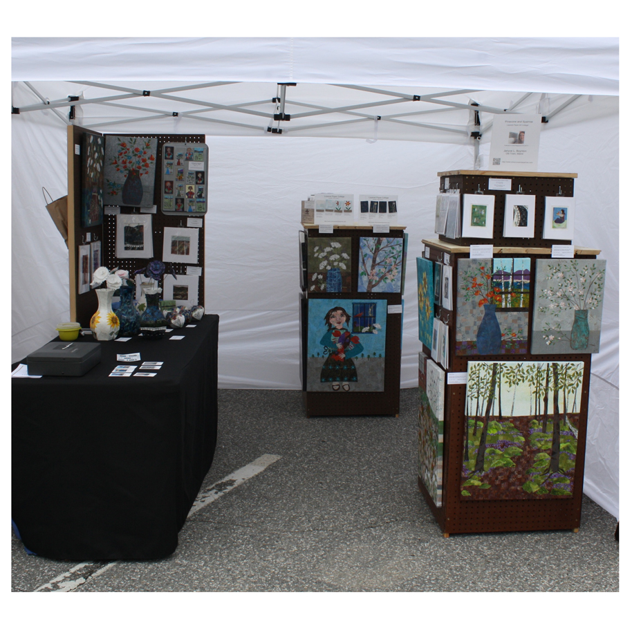 Pinecone and Sparrow Booth Display from the 2017 Winthrop Sidewalk Art Festival.