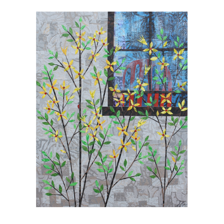 """A Spring Day (2018). Layered paper collage. Hand-stamped and altered paper with acrylics on 8"""" x 10"""" canvas. Available  here ."""