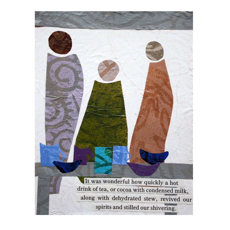 """It Was Wonderful How Quickly. (2018). Layered paper collage on 4"""" x 5"""" mixed media paper."""