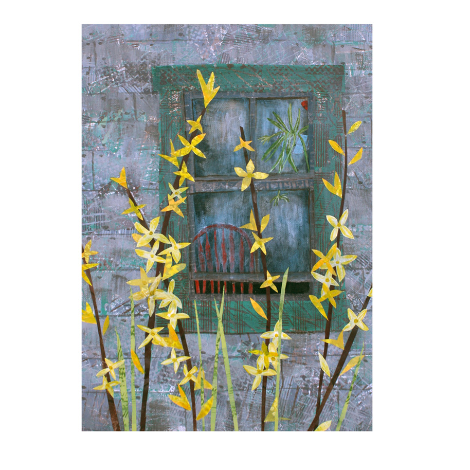 "Forsythia. (2015). Layered paper collage. Hand-stamped and altered paper with acrylics on 11"" x 14"" canvas. Sold."