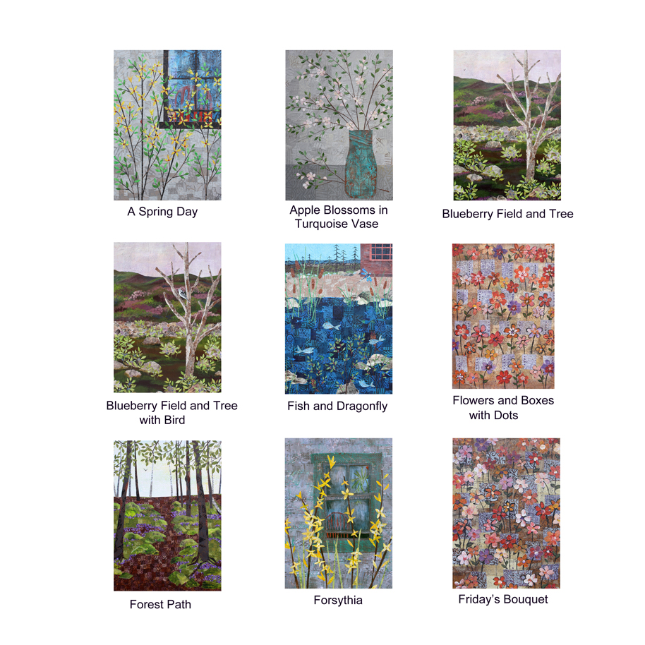 """Pinecone and Sparrow Greeting Cards. 5"""" x 7"""" with printed collage images, blank. Available through my gift shop starting the end of next week (2/23/2018, give or take)."""
