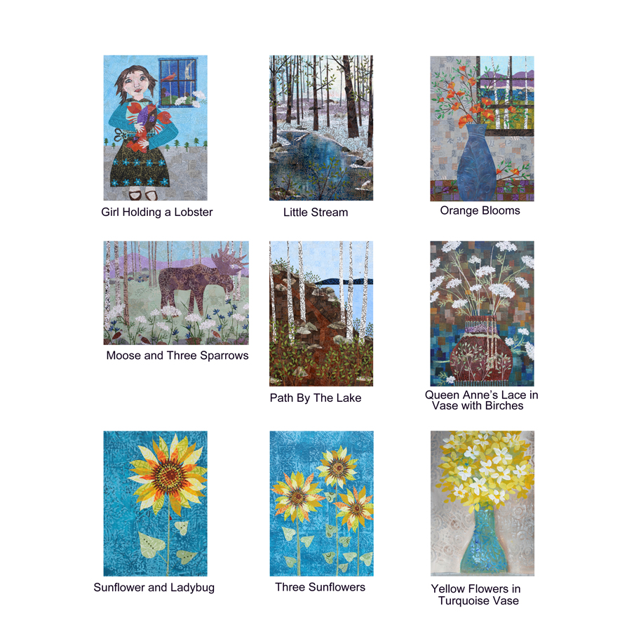 """Pinecone and Sparrow Greeting Cards. 5"""" x 7"""" with printed collage images, blank inside. Available through my gift shop starting the end of next week (2/23/2018, give or take)."""