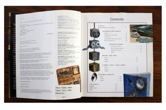 Publishing information and Contents page from  Altered Art: Techniques for Creating Altered Books, Boxes, Cards & More .