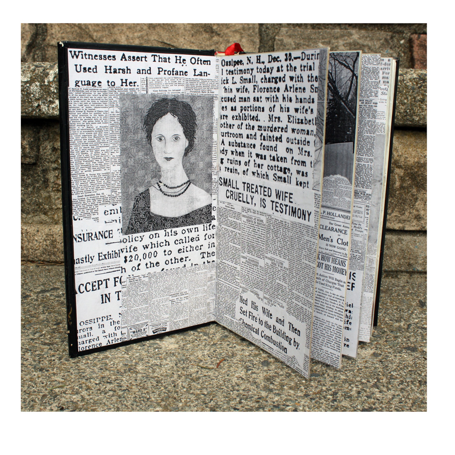 Florence Arlene Small Altered Book. (2018). Layered paper in altered book. Work in progress.