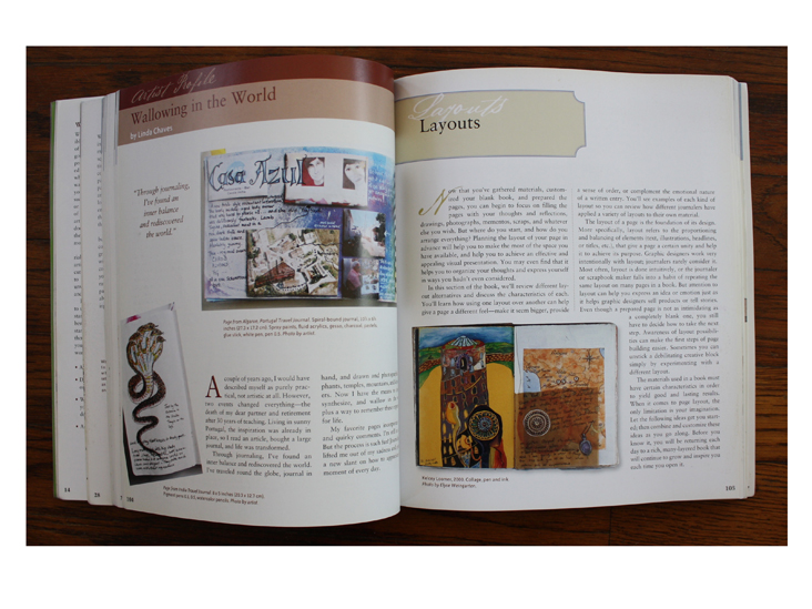 Left: Wallowing in the World by Linda Chaves. Images: Page from Algarve Travel Journal and (below left) Page from India Travel Journal; Right: Kelcey Loomer, 2000 in The Complete Decorated Journal.
