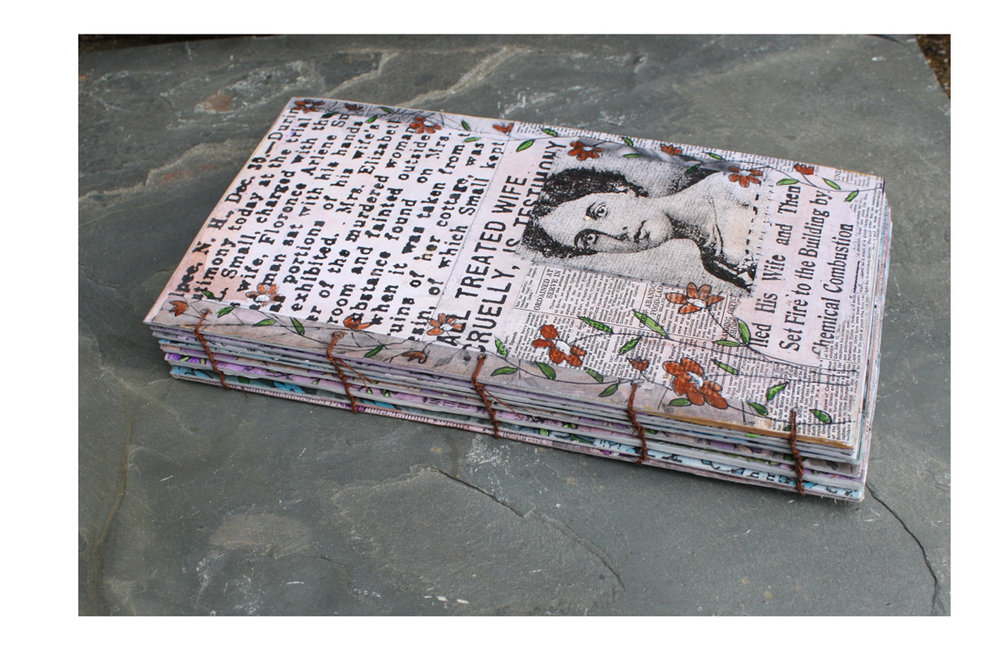 In Honor of Florence Arlene Small. (2018). Altered book pages. Hand-painted and altered paper with acrylics. Hand-sewn binding.