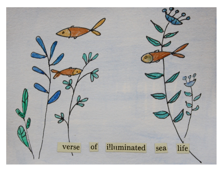 Verse of Illuminated Sea Life. (2018). Ink, cut paper, and acrylics on mixed media paper.