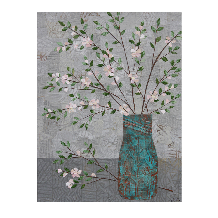 Apple Blossoms in Turquoise Vase Layered Paper Collage
