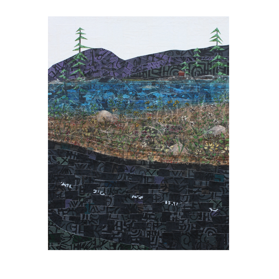 """From the Road #22. (2016 and 2018). Layered paper collage. Hand-stamped and -painted paper with acrylics and ink on 11"""" x 14"""" canvas. Sold at Belfast Arts in the Park."""