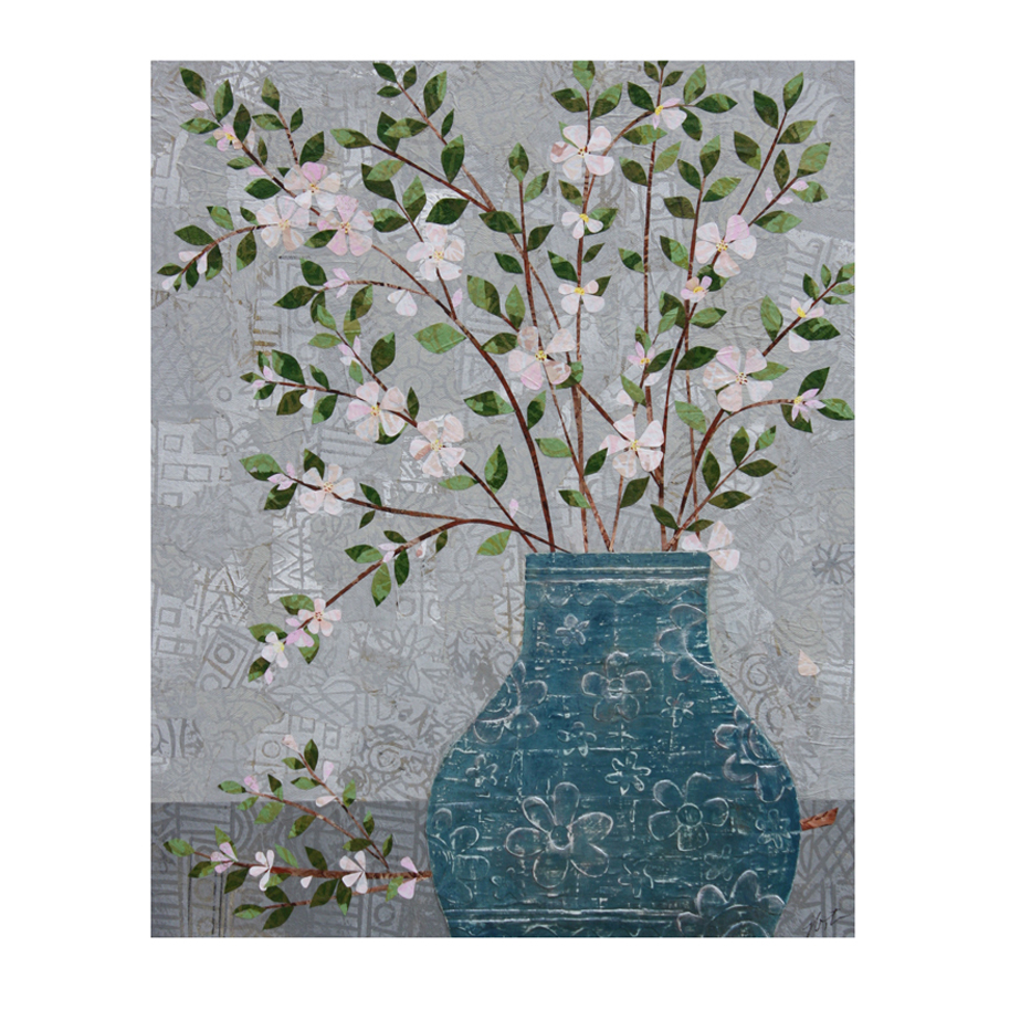 Apple Blossoms in Vase Layered Paper Collage