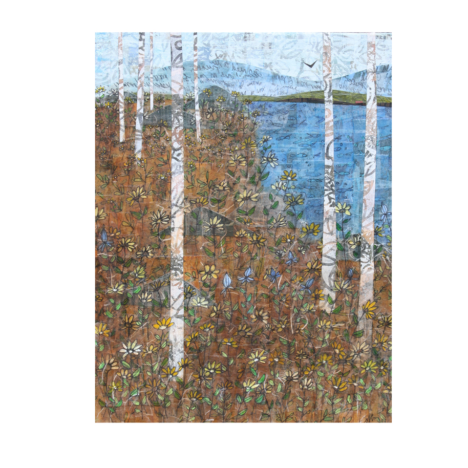 """Blue Sky and Birches. (2018). Layered paper collage. Mixed media on 11"""" x 14"""" canvas."""