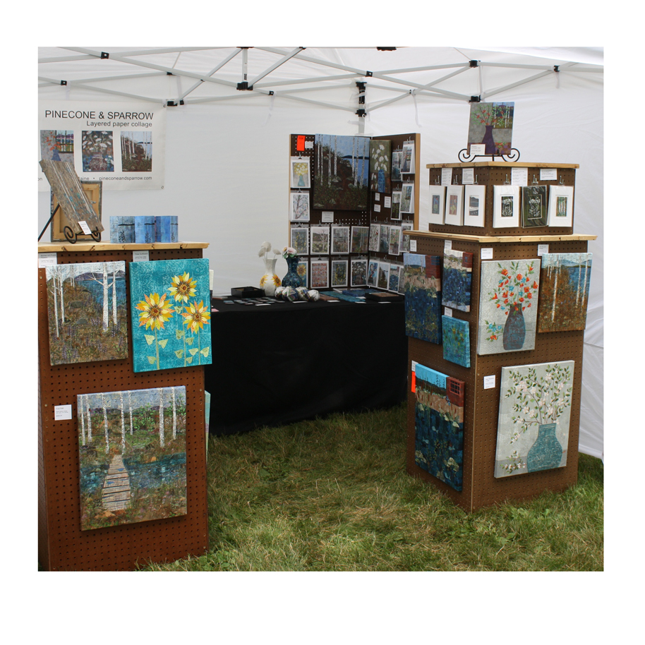 Pinecone and Sparrow Booth Display at South Portland's Art in the Park - 2018.