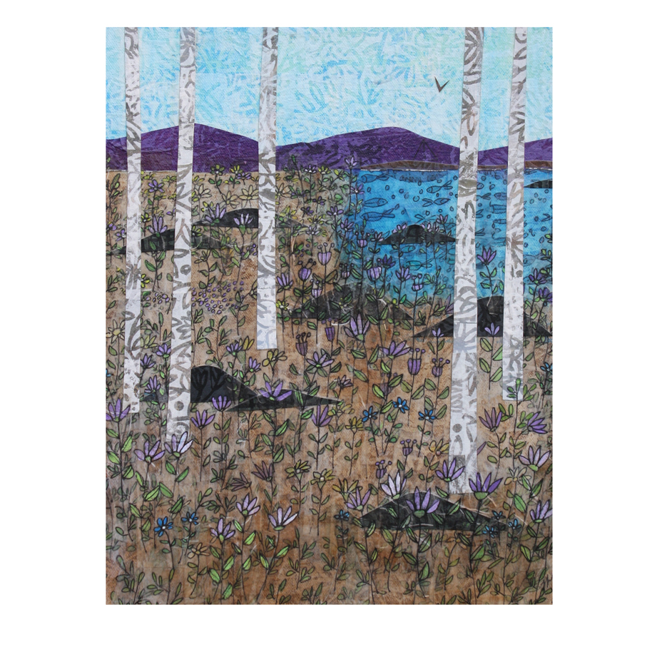 """Birches and Purple Flowers 2. (2018). Layered paper collage. Hand-drawn, altered, stamped and painted paper on 11"""" x 14"""" canvas."""