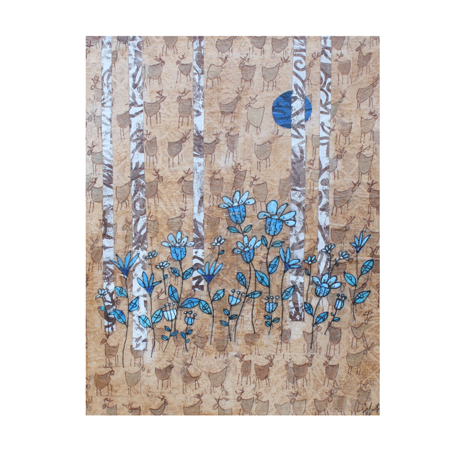 """Birches and Blue Flowers (3). (2018). Layered paper collage. Hand-stamped, drawn, and painted paper on 8""""X10"""" canvas."""