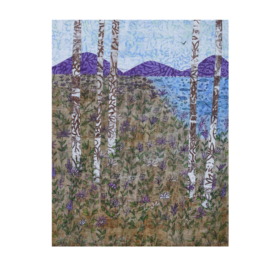 """Birches and Purple Flowers 3. (2018). Layered paper collage. Hand-stamped, drawn, and painted paper on 11"""" x 14"""" canvas."""