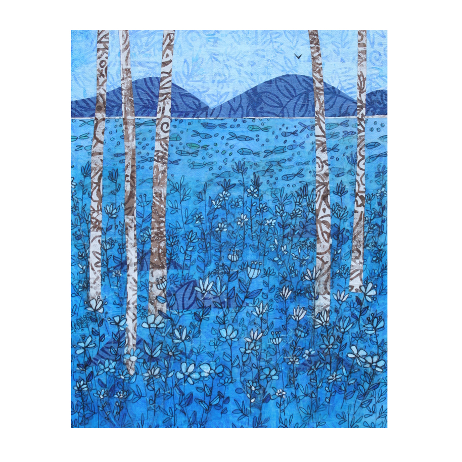 """Blue Sky and Birches. (2018). Layered paper collage. Hand-stamped, painted, and drawn paper on 11"""" x 14"""" canvas."""