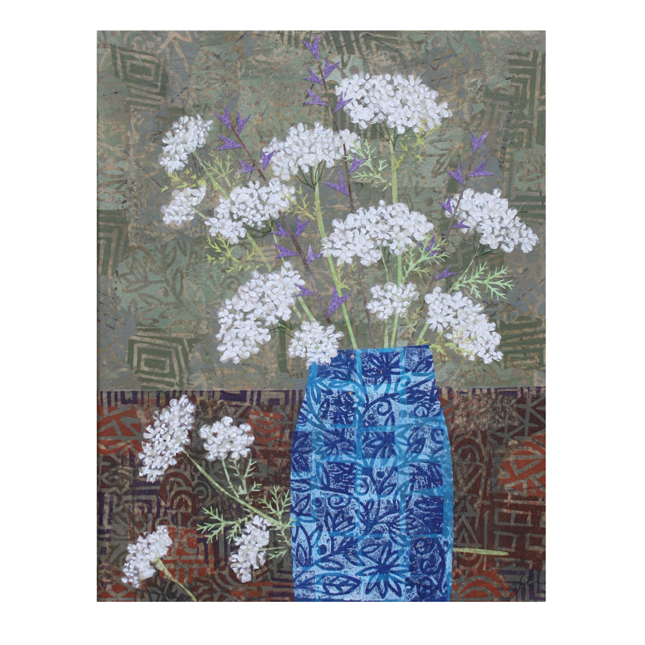 "Queen Anne's Lace in Blue Vase. Layered paper collage. Hand-stamped and altered paper with acrylics on 11"" x 14"" canvas. Available for purchase  here."