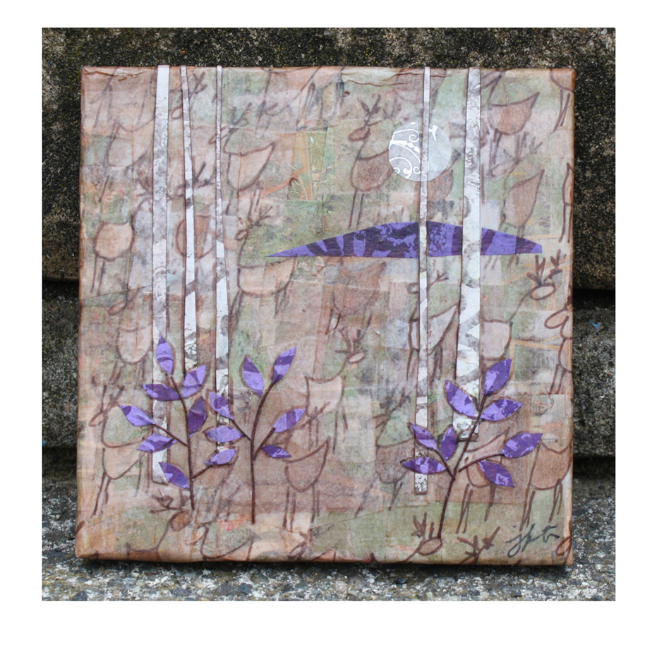 "Deer and Birches (3). Layered paper collage on 4"" x 4"" x .5"" canvas. Available  here ."