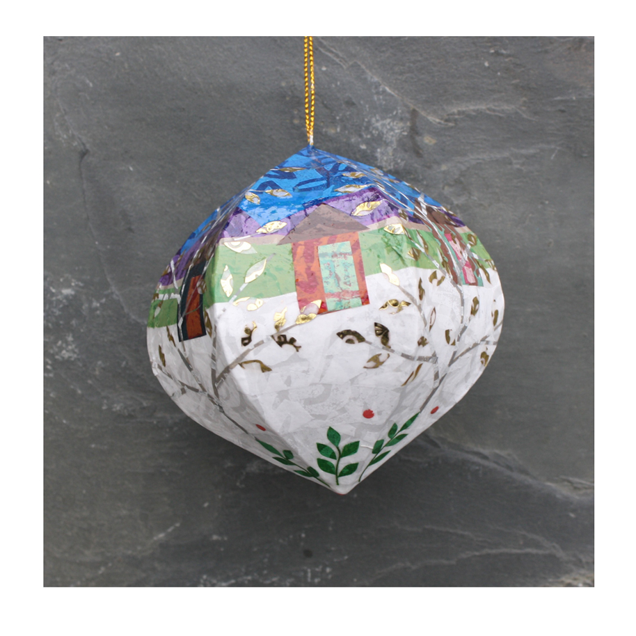 Cabins and Trees Ornament. Layered paper collage on papier mache base. Available  here .