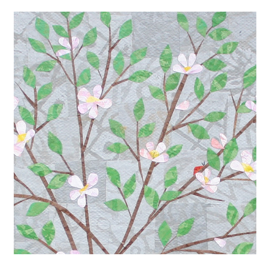 "Apple Blossoms (3). (2018). Layered paper collage. Hand-stamped paper with acrylics on 8"" x 10"" canvas. Sold."