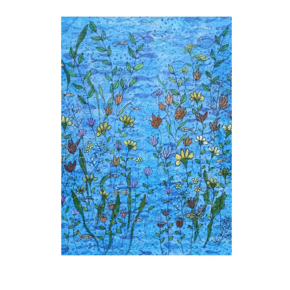 Sea Daisies. (2018). Layered paper collage. Hand-drawn and painted paper on canvas. Available  here .