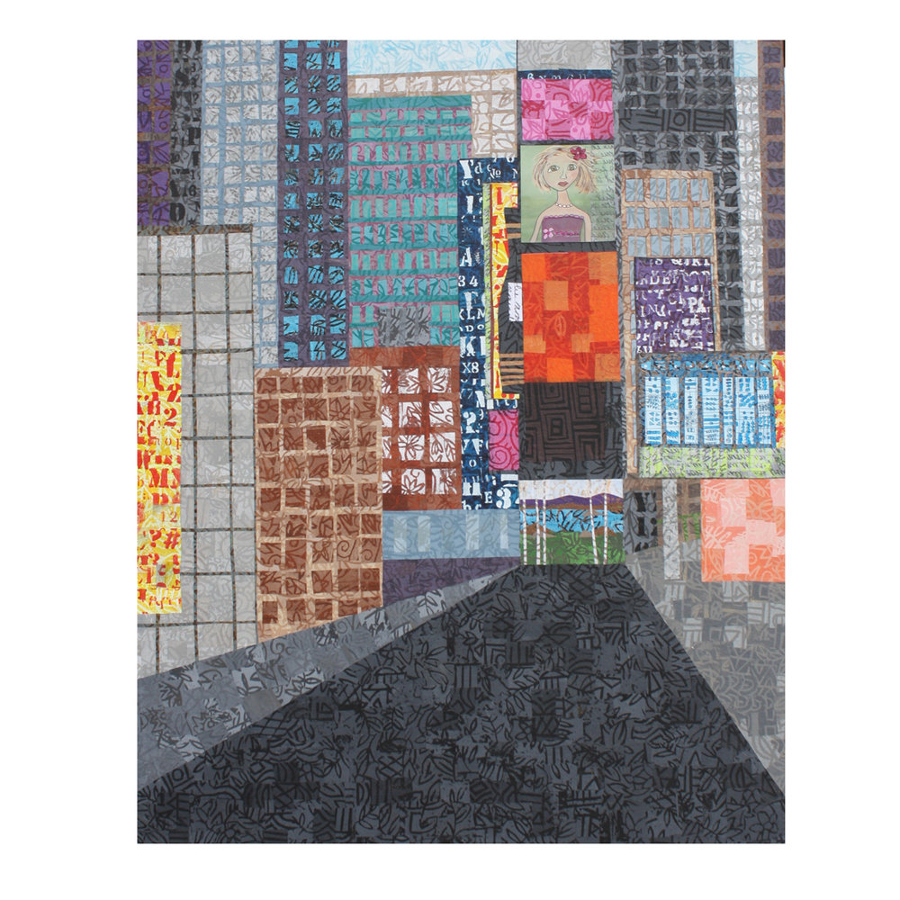 """Cityscape. (2019). Layered paper collage. Hand-stamped and altered papers with acrylic on 24"""" x 30"""" canvas. Work in progress."""