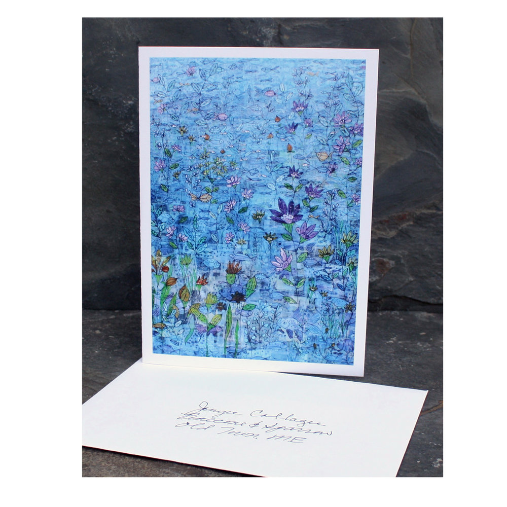 "Sea Garden. Printed Greeting Card. 5"" x 7"" blank inside. Available  here ."